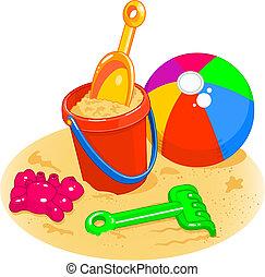 Juguetes de la playa. Palo, pala, pelota