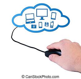 Junto con la nube computarizada de ratones.