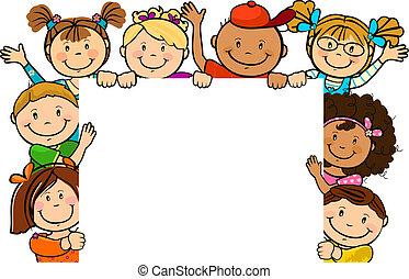 juntos, cuadrado, niños, hoja