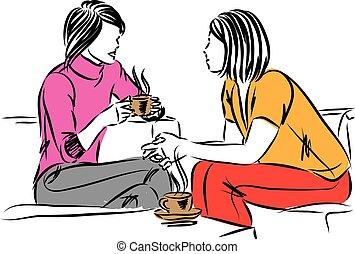 juntos, dos, hablar, ilustración, taza, mujeres, vector, café