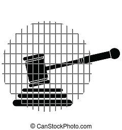 justicia, barras, martillo