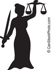 justicia, estatua, dama
