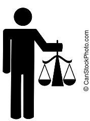 justicia, hombre, palo, tenencia, escalas