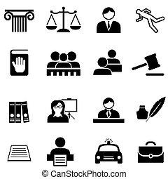 Justicia, legal, ley y icono abogado