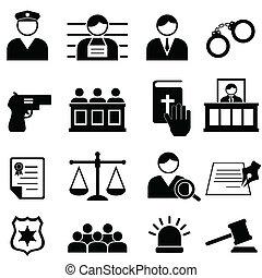 justicia, legal, tribunal, iconos