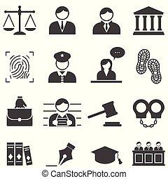 Justicia, ley, íconos legales