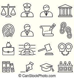 Justicia, ley, abogado y icono de la corte