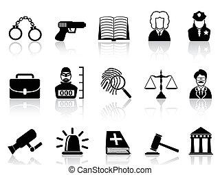 justicia, ley, conjunto, iconos