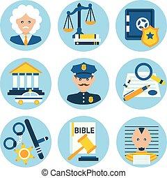 justicia, ley, iconos, policía