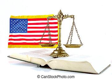 justicia, norteamericano, ley
