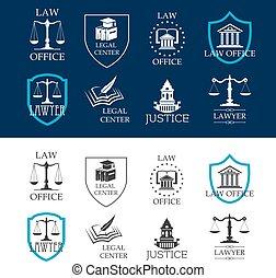 Justicia, oficina de abogados y iconos del centro legal