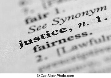 justicia, serie, -, diccionario