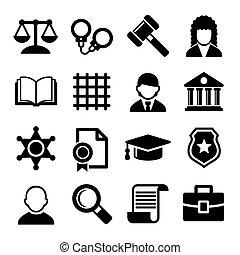 justicia, set., vector, ley, iconos