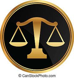 justicia, vector, escalas, icono