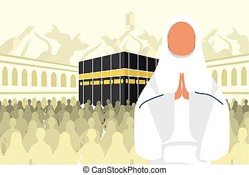 kaaba, escena, peregrinación, hajj, mujer