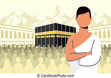 kaaba, escena, peregrinación, hombre, hajj