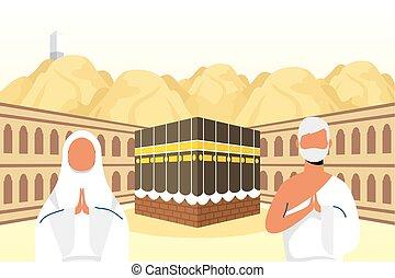 kaaba, escena, peregrinación, pareja, hajj