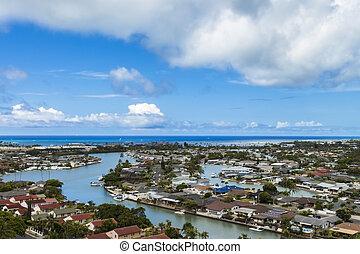 kai, bahía, maunalua, hawai