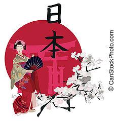 kanji, geisha