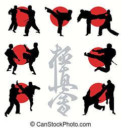 karate, kyokushin, conjunto, siluetas