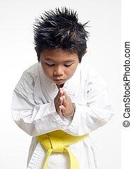 karate, niño, reverencia