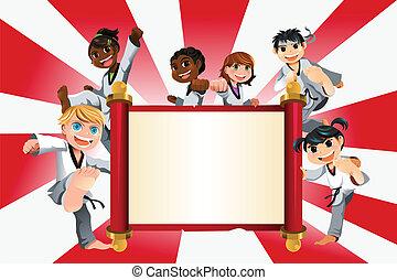 karate, niños, bandera
