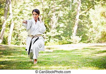 karate, practicar, asiático