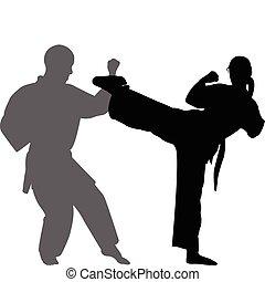 karate, vector, -, igual