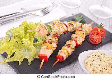 Kebab de pollo asado