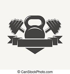 kettlebell, logotipo, baner, dumbbell