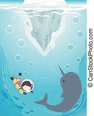 Kid iceberg bajo el agua narval