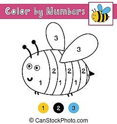 kids., actividad, página, bee., juego, color, worksheet, números, lindo, printable