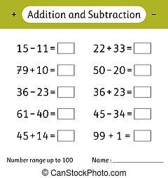 kids., competencia cálculo, adición, ejemplos, skills., subtraction., revelado, write., número, arriba, worksheet, gama, 100., matemáticas, matemáticas, solucionar