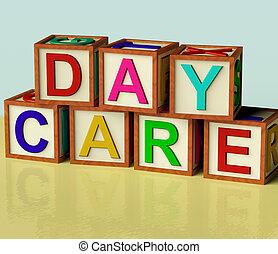 kindergarden, niños, bloques, de madera, símbolo, ortografía, día, preescolar, cuidado