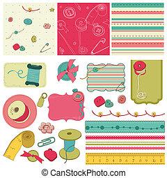 Kit de costura, elementos de diseño para el álbum de recortes
