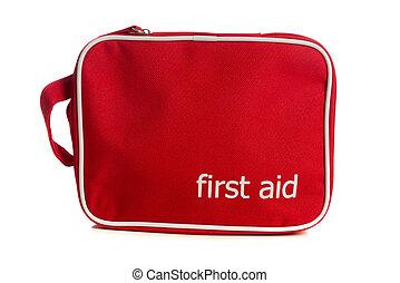 Kit de primeros auxilios rojos en blanco