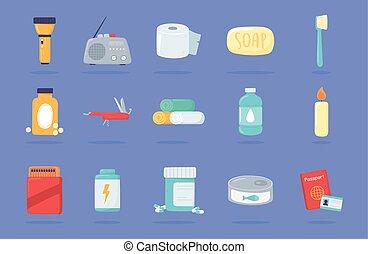 kit, emergencia, conjunto