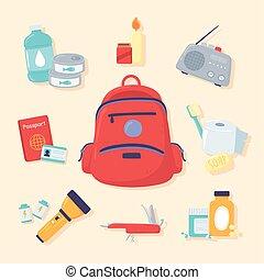 kit, emergencia, herramientas