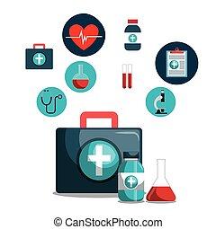 Kit iconos, diseño de la medicina de la salud aislado