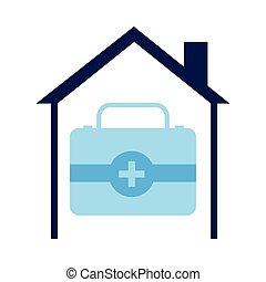 kit médico, drogas, casa, dentro