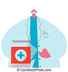 kit, médico, máscara, uniforme, medicina, doctor
