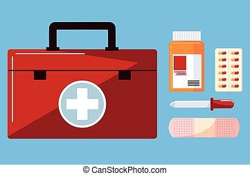 kit, medicina, drogas
