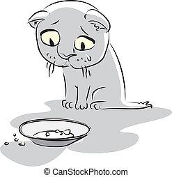 kitty., vector, hambriento, ilustración