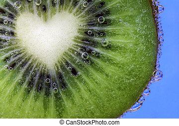 kiwi, corazón, rebanada, formado