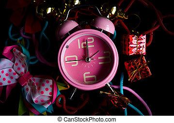 knick-knacks, caja, colorido, reloj, regalo, alarma, corbata, poco, rosa