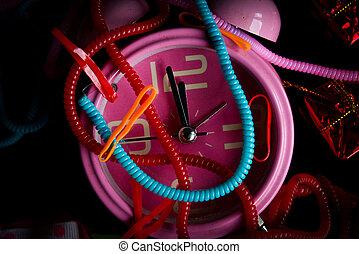 knick-knacks, reloj, colorido, alarma, rosa