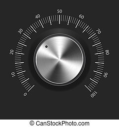 knob), botón, metal, textura, (music, volumen, (chrome)