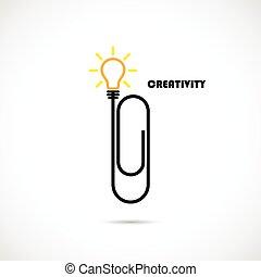 knowledge., empresa / negocio, clip, papel, concept., innovación, logotipo, pensamiento, inspiración, creativo, ideas, bombilla, luz, invención, eficaz, concepto, design., educación