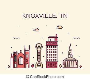 Knoxville skyline tennessee estilo vector USA