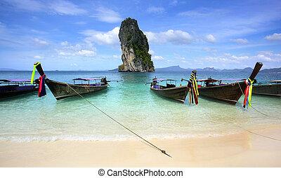 koh, meridional, poda, krabi, tailandia, playa